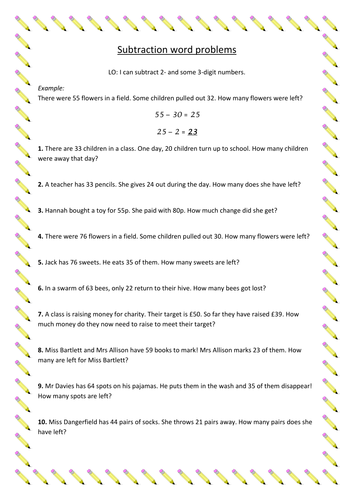Subtraction word problems by supersophiee - Teaching Resources - TES