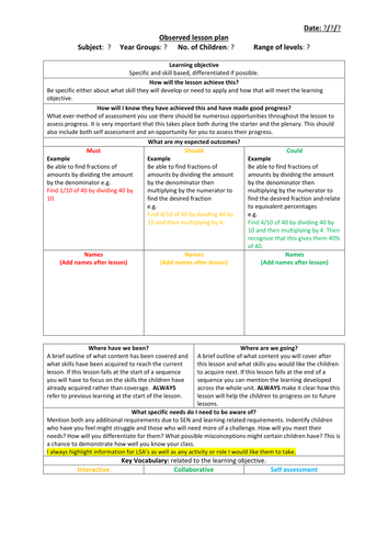 bright from the start lesson plan template - observed lesson plan template by jakemp28 teaching
