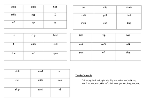 RML Phonics Introductory module bingo/lotto