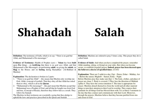 Revision Cards and Worksheets for RE: Islam