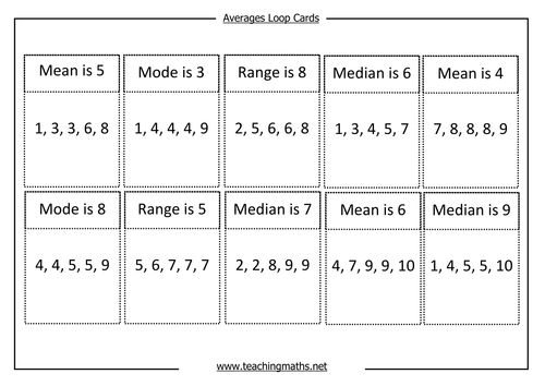 Worksheet Mean Mode Median Range Worksheet averages mode median mean and range by teachingmaths 0 loop cards pdf pdf