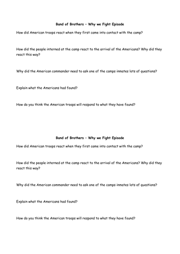 Band Of Brothers Why We Fight Question Sheet By Whybrolufc