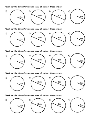 Area and circumference of circles starter by jhofmannmaths