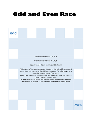 Odd and even race: KS1 number game