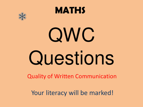 How to approach a math QWC Question GCSE *