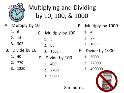 Multiplying and dividing by multiples of 10 by imckee Teaching – Multiplication and Division by 10 100 and 1000 Worksheet