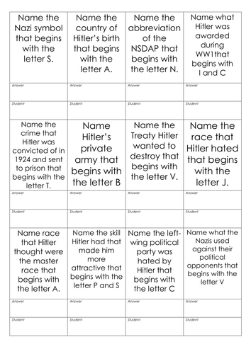 Nazi Bingo The Early Years By Steviebayes Teaching Resources Tes
