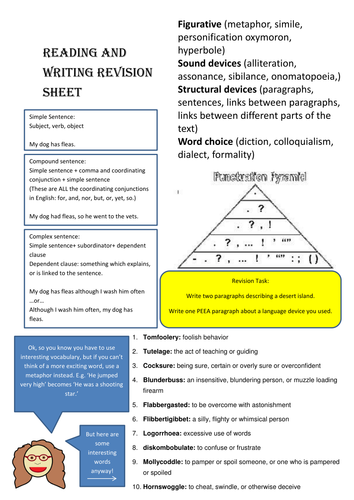 Reading and Writing Revision sheet