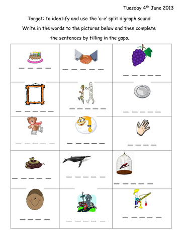 Split Digraph a-e Phonic worksheet & presentation by joop09 ...