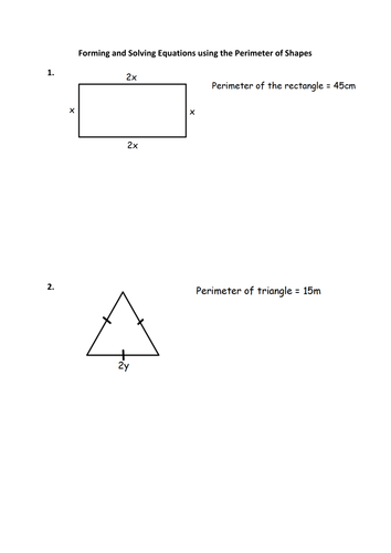 Forming and Solving Equations using perimeters