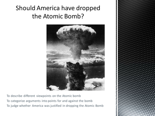 atomic bomb essay hook Essay on the dropping of atomic bomb on japan on august 6, 1945, a b-29 bomber named enola gay dropped an atomic bomb, on hiroshima, japan hiroshima had been almost eradicated with an estimated 70 – 80 thousand people killed three days later, a second, more powerful bomb was dropped on the.