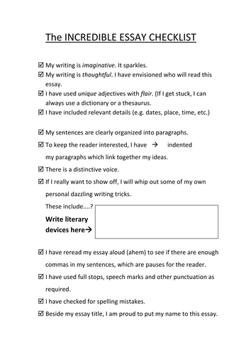 checklist for personal essay writing by allimac teaching  checklist for personal essay writing by allimac1 teaching resources tes