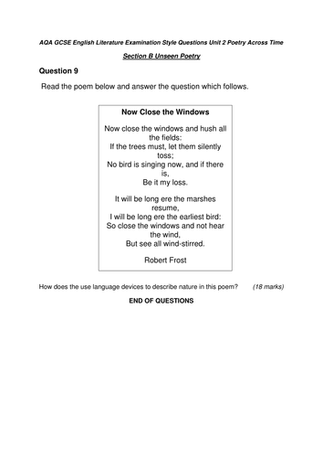 aqa english unit 2 unseen poetry questions by adc1996 teaching resources tes. Black Bedroom Furniture Sets. Home Design Ideas