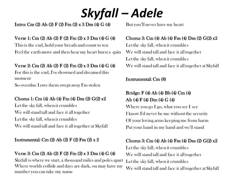Skyfall - Adele; chords and lyrics by s_mcsweeney - Teaching ...