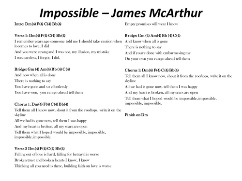 Impossible - James Arthur; chords and lyrics by s_mcsweeney ...