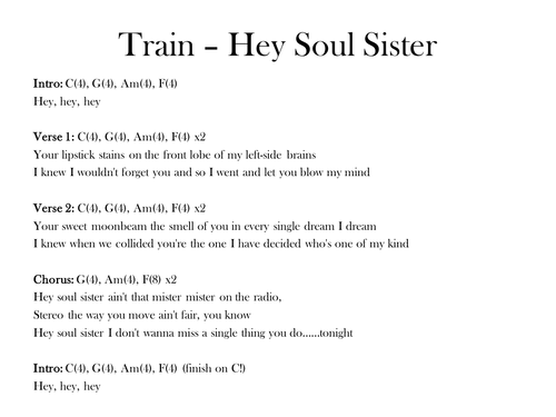 Hey Soul Sister - Train; chords and lyrics by s_mcsweeney - Teaching ...