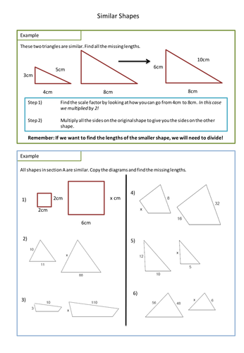 Similar Shapes Worksheet Scale Factors By Adz1991 Teaching