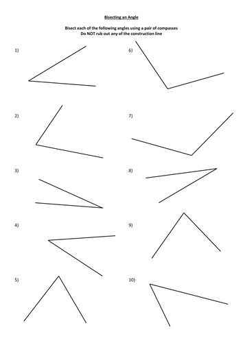 Bisecting an Angle worksheet by monkeyfig - Teaching Resources - Tes
