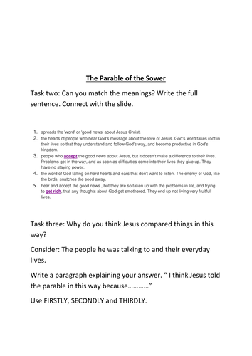 The Parable of the Sower by ACOYEAR8 | Teaching Resources