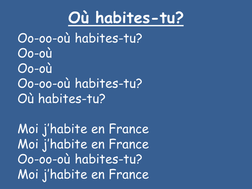 Ou habites-tu? - French Song to Camptown Races