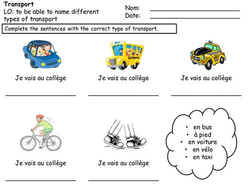 Transport Worksheet (French) By Shropshire14