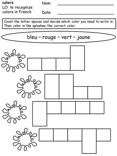 Colors worksheet (French)