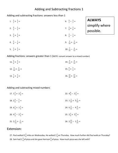 Adding and subtracting fractions (differentiated) by kittykat_102 ...