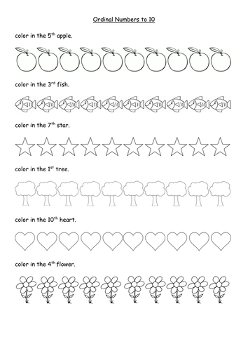 Ordinal numbers worksheets to 10th and 20th by sophiemhorton ...