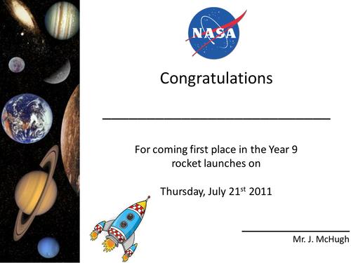 Rocket Designing Activity Certificates