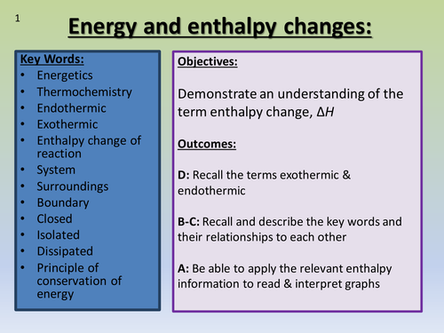 Energy & enthalpy changes