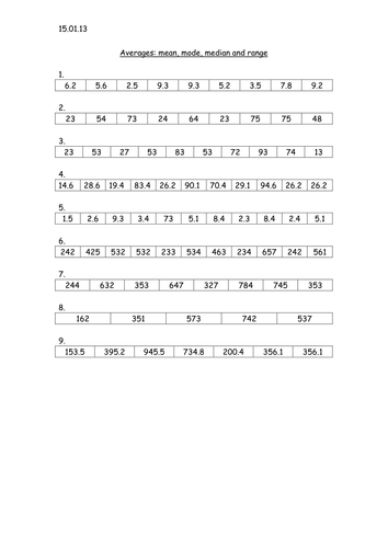 Mean, median, mode and range worksheet by louiseconnelly221189 ...