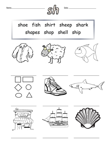 First sh Words Worksheet sh by barang | Teaching Resources