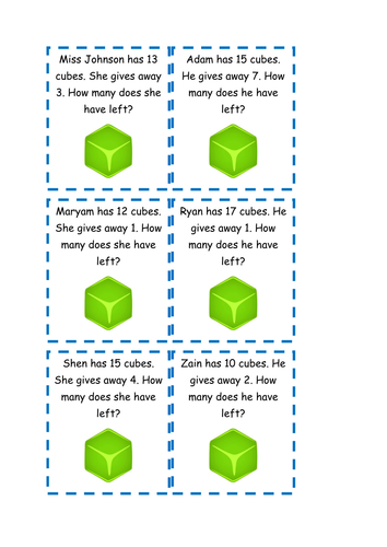 Subtraction word problems by spider-stacey - Teaching Resources - TES
