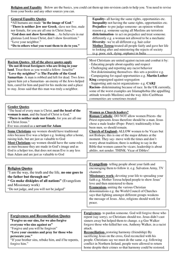 OCR Religion and Equality Revision Sheet/Cards