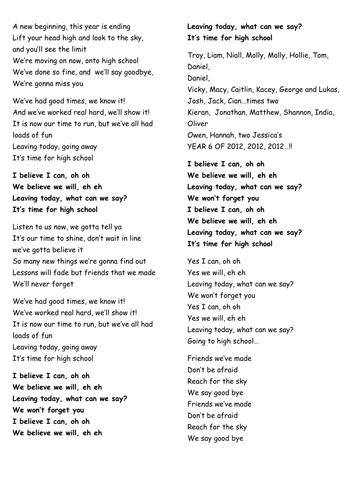 Year 6 Leavers Song Waka Waka Teaching Resources