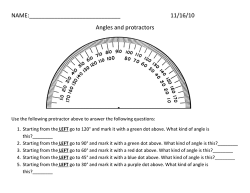 Protractor Activity First Use Of Protractors By