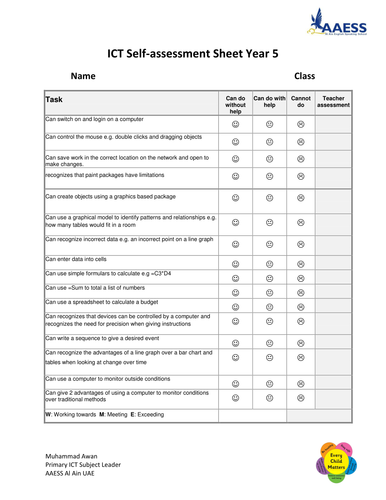 ICT Self assessment targets Yr 3, 4 and 5