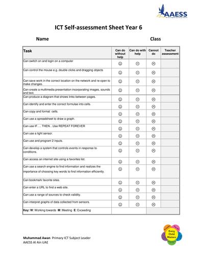 ICT Self-assessment Sheet Year 6