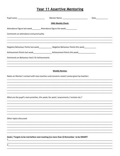Printables Mentoring Worksheets assertive mentoring weekly meeting sheet by missrathor teaching resources tes