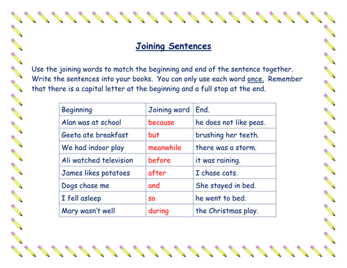 Use of Joining Words (Connectives) in Sentences
