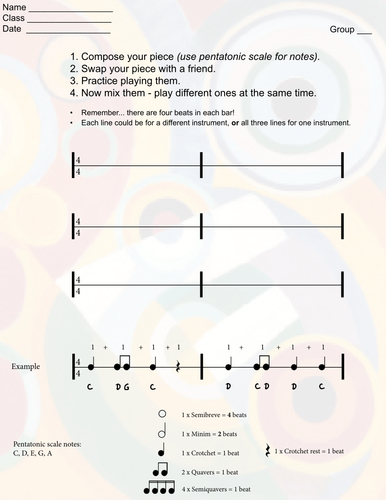Rhythm notation  - play, compose, play, listen