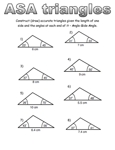 ASA, SAS and SSS construction worksheets by SChandler13 - Teaching ...