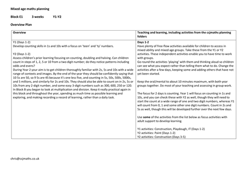 Mixed age numeracy planning Y1-Y2 Block E1