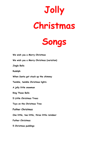Christmas songs a collection of 14