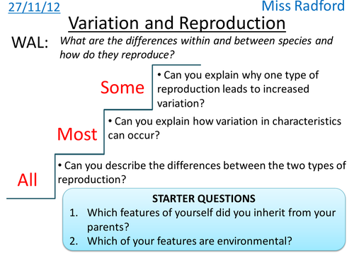 B1.2 Variation & Reproduction - AQA Core science