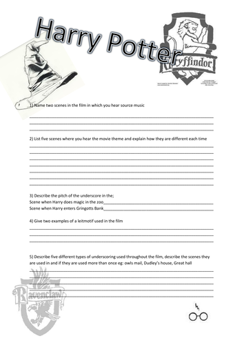 Harry Potter and The Philosophers Stone Worksheet by npopovic