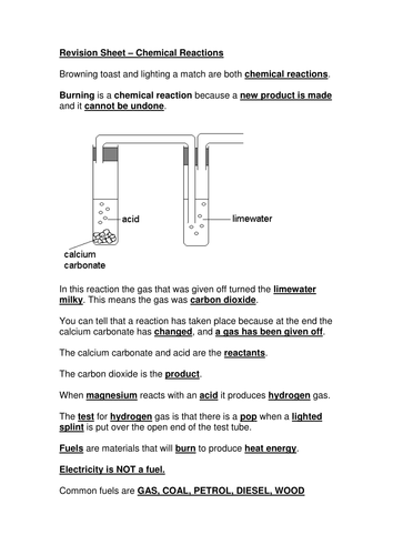 Chemical reactions revision sheet