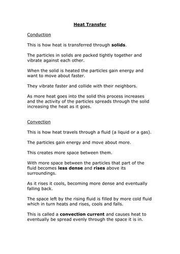 conduction and convection fact sheet