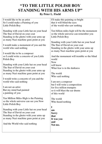 'To a war child' poetry writing lesson