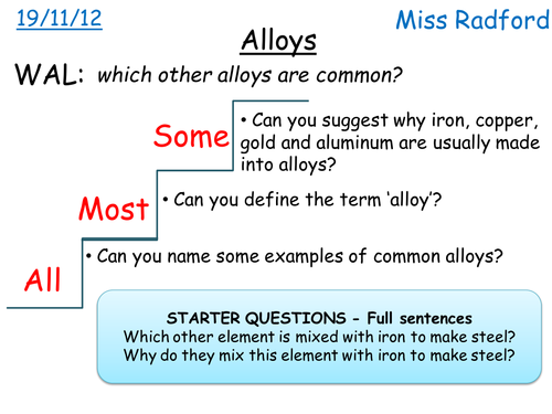 C11 Alloys For Sen By Hannahradford Teaching Resources Tes